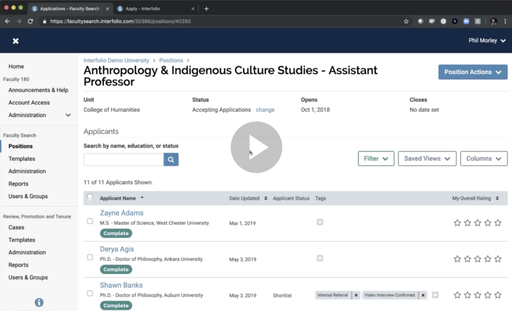 Interfolio webinar with London Business School showing academic hiring product