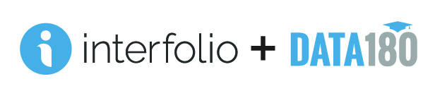 Interfolio horizontal color logo + Data180 horizontal color log side by side