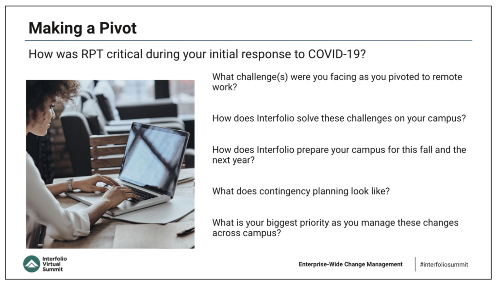 Many higher education academic affairs professionals related how Interfolio has been critical for business continuity during the COVID-19 pandemic.