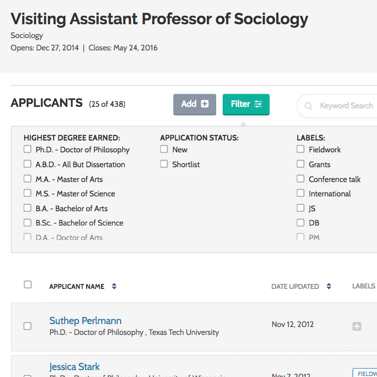Better applicant list sorting in ByCommittee Faculty Search