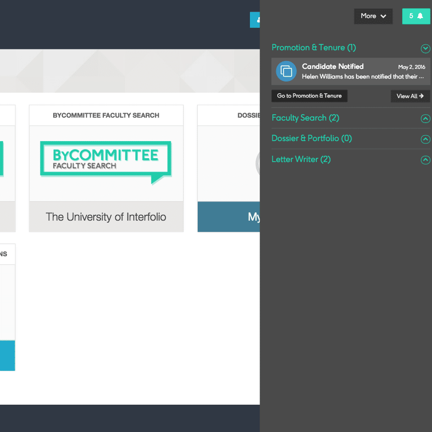 Notifications in your Interfolio account (to go with the new look)